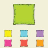 Bed pillow templates. Set of multicolored pillows. Sketch illustration