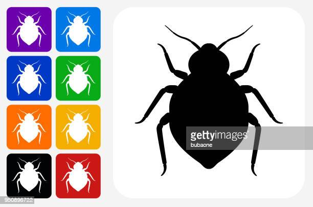Bedbug Icon Square Button Set