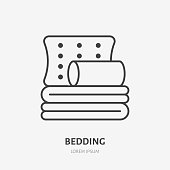 Bedding, bedroom decorations flat line icon. Vector illustration of pillows and blanket. Thin linear logo for interior store