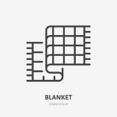Bedding, bedroom decorations flat line icon. Vector illustration of blanket, plaid. Thin linear logo for interior store