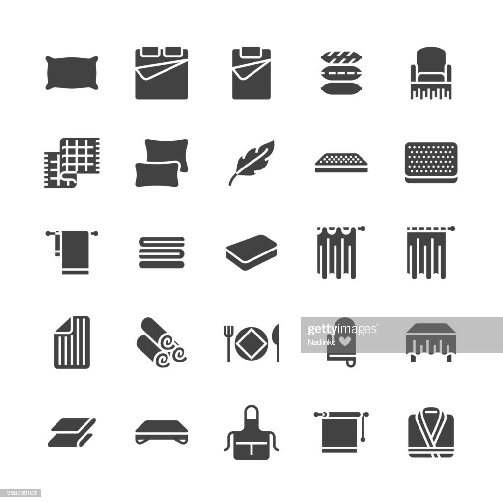 Bedding flat glyph icons. Orthopedics mattresses, bedroom linen, pillows, sheets set, blanket and duvet illustrations. Signs for interior store. Solid silhouette pixel perfect 64x64