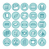 Bedding flat line icons. Orthopedics mattresses, bedroom linen, pillows, sheets set, blanket and duvet illustrations. Thin signs for interior store
