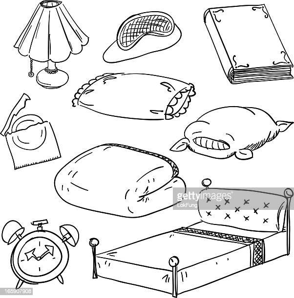 bedroom accessory in black and white - rubber stock illustrations, clip art, cartoons, & icons