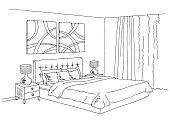Bedroom black white graphic interior sketch illustration vector