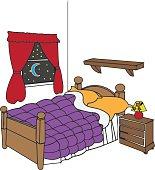 Bedroom cartoonish vector