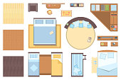 Bedroom elements - set of modern vector objects