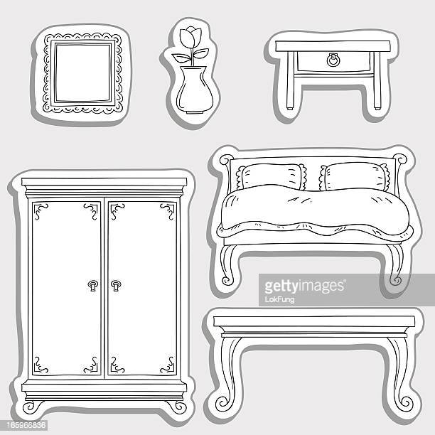 Bedroom furniture in sticker style