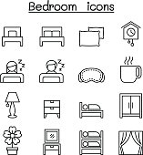 Bedroom icon set in thin line style
