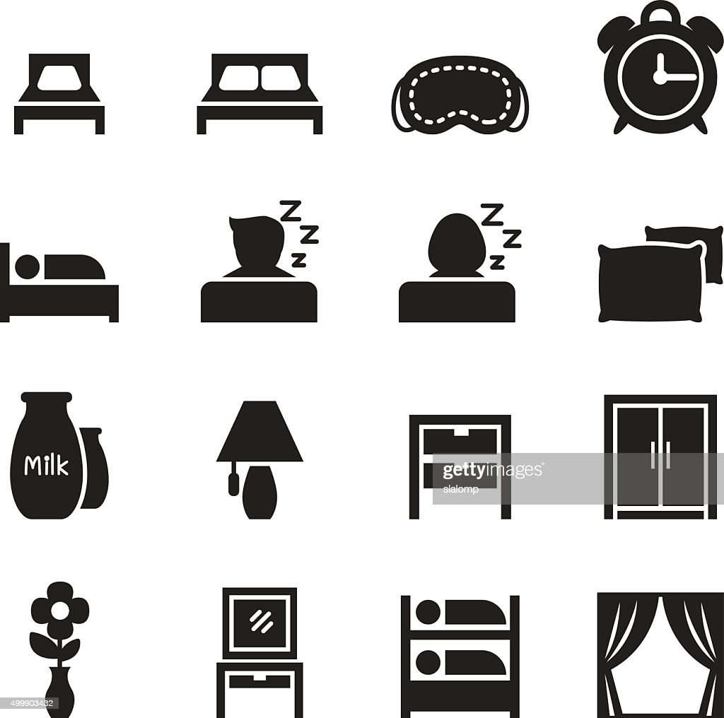 Bedroom icons set