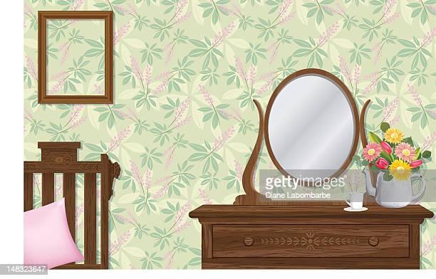 Schlafzimmer mit Kommode & Blumen