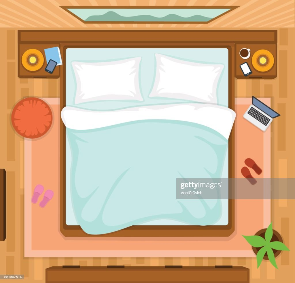 Bedroom with empty bed top view