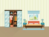 Bedroom with furniture interior. Flat vector illustration.