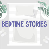 Bedtime stories. No people, copy space image. Above view of a bedroom with light linens and green plants. Cozy interior. Flat vector illustration, clip art