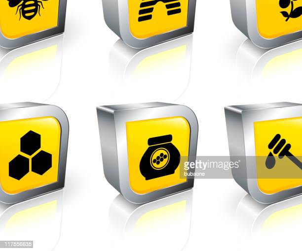 bee and honey 3D royalty free vector icon set