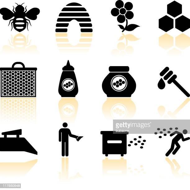 illustrations, cliparts, dessins animés et icônes de miel abeille & noir et blanc vector icon set - ruche