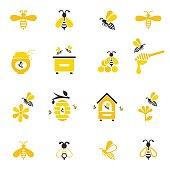 Bee and honey icon set.