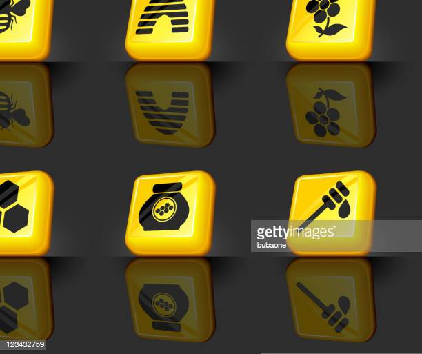 bee and honey internet royalty free vector icon set