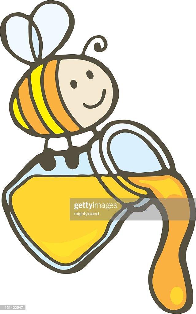 Bee and Honey Jar : stock illustration