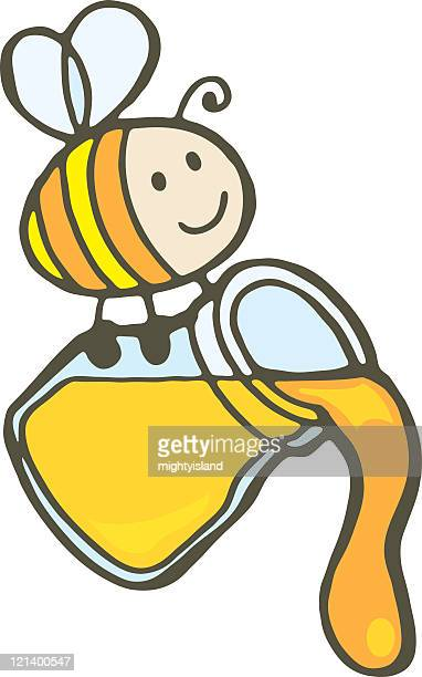 bee and honey jar - bumblebee stock illustrations, clip art, cartoons, & icons