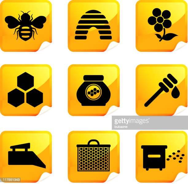 illustrations, cliparts, dessins animés et icônes de miel abeille et neuf ensemble d'icônes vectorielles libres de droits - ruche