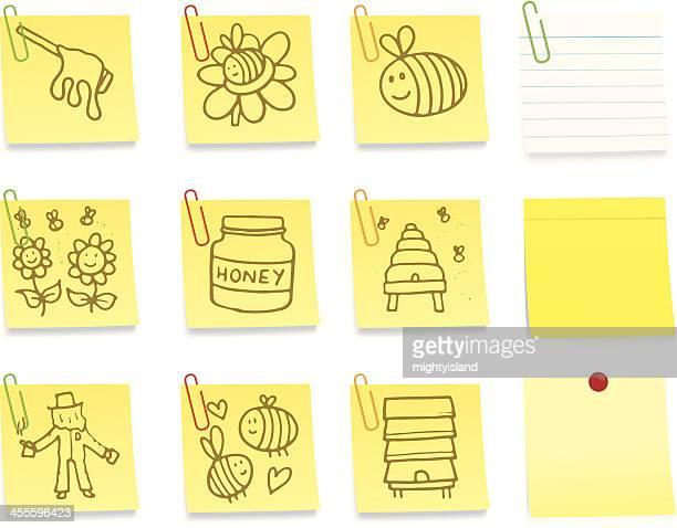Abelha e mel pós-Nota de ícones