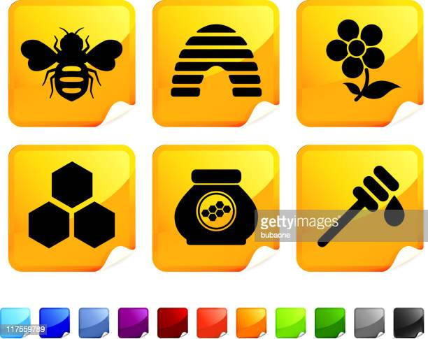 bee and honey royalty free vector icon set stickers