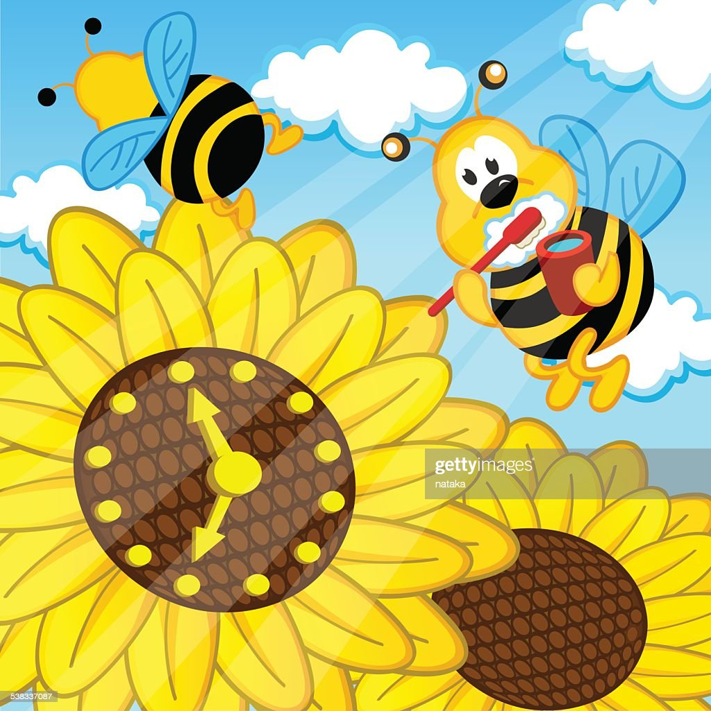 bee brushes  teeth looks at watch sunflower