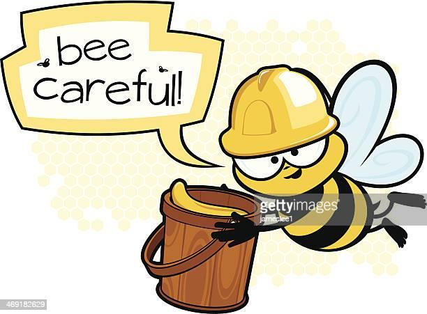 bee careful - worker bee stock illustrations