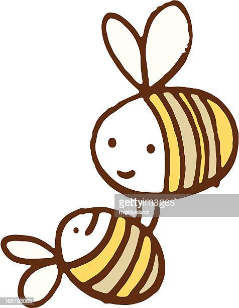 bee carrying a baby - bumblebee stock illustrations, clip art, cartoons, & icons
