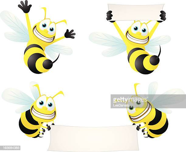 bee collection - wasp stock illustrations, clip art, cartoons, & icons