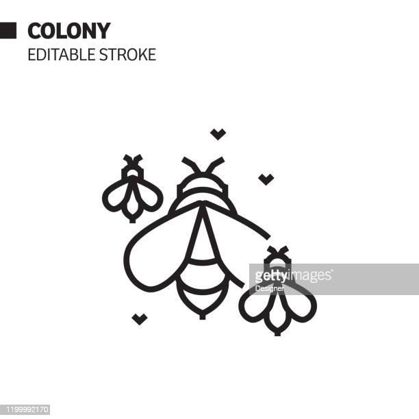 illustrations, cliparts, dessins animés et icônes de icône de ligne de colonie d'abeille, illustration de symbole de vecteur de d'contour. pixel perfect, avc modifiable. - ruche