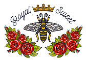 Bee crown flowers embroidery patch. Honey bee bumblebee floral leaf Insect embroidery. Hand drawn vector illustration