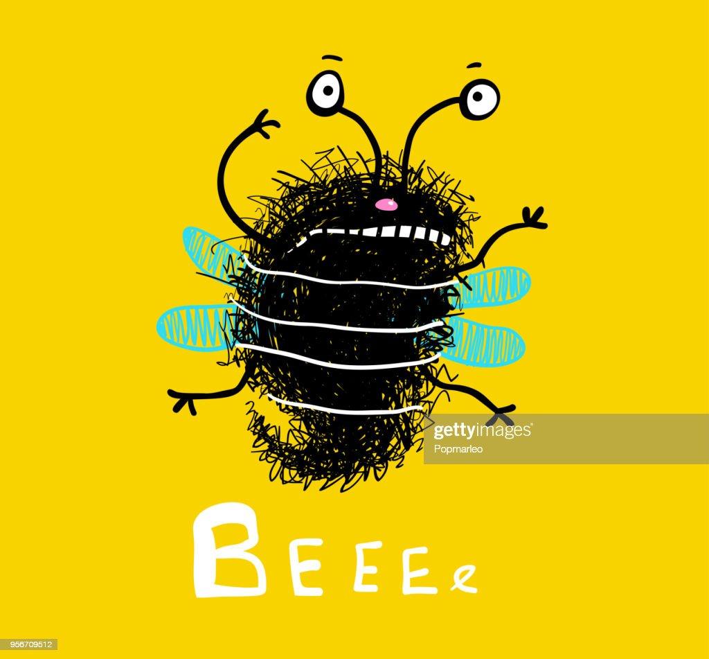 Bee cute fluffy doodle cartoon
