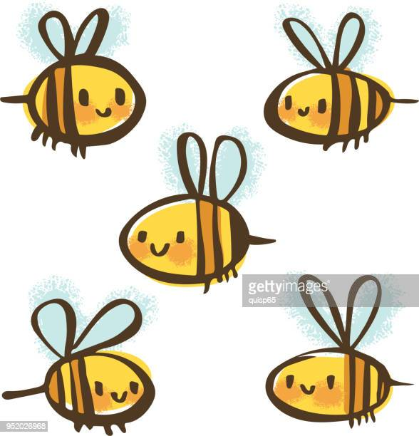 bee doodle set - bumblebee stock illustrations, clip art, cartoons, & icons