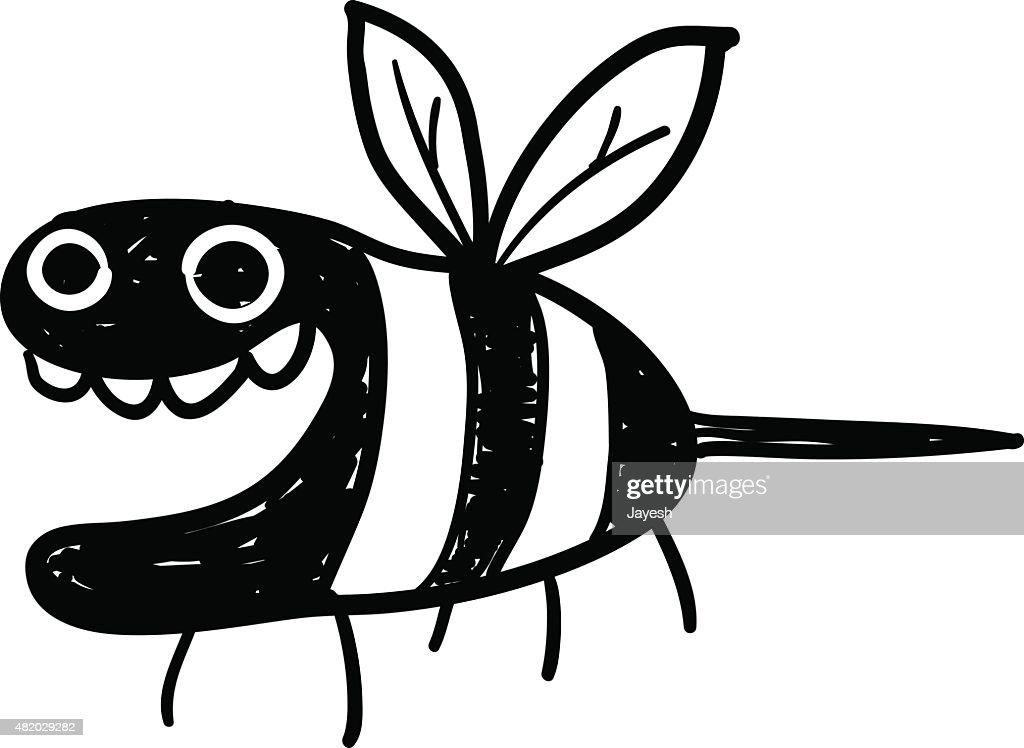 Line Art Bee : Bee doodle vector art getty images