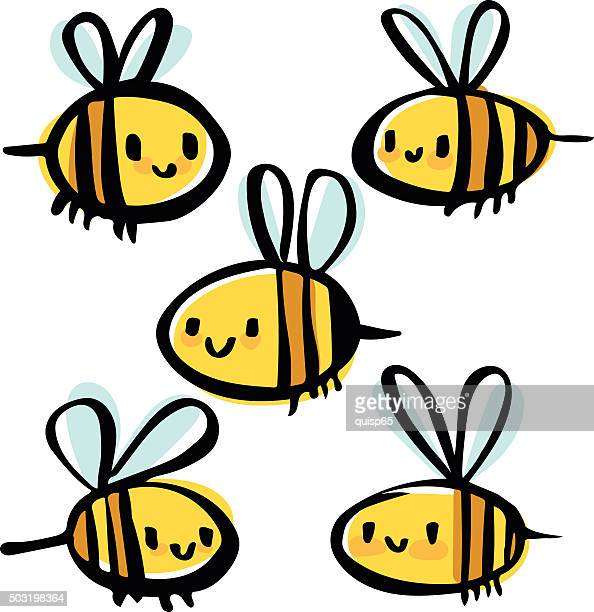 bee doodles - cute stock illustrations