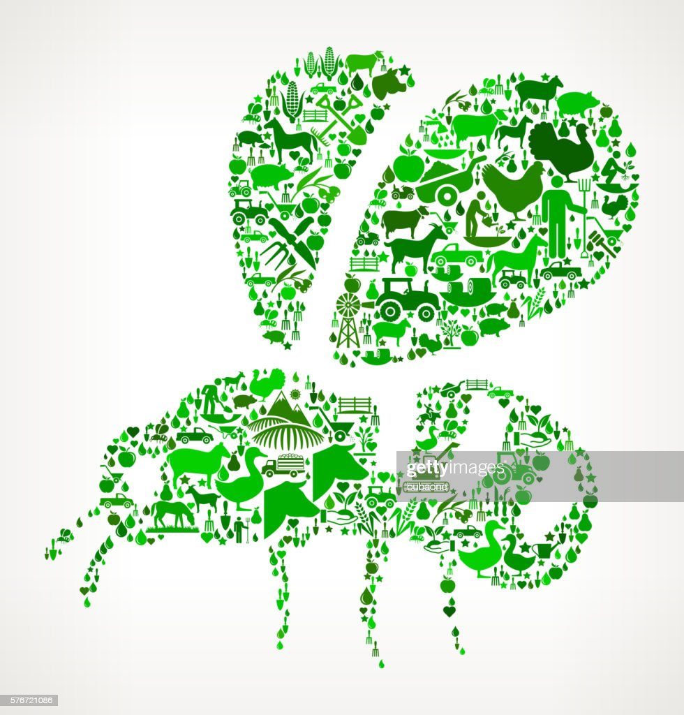 Bee Farming and Agriculture Green Icon Pattern