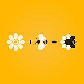 bee flower company icon concept