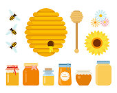 Bee hive, wooden honey spoon, three bees, wildflowers and glass jars with honey of different sizes flat isolated