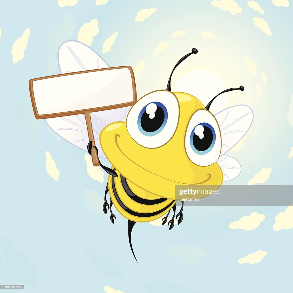 Bee holding a blank sign : stock illustration