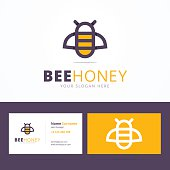 Bee honey emblem and business card template.