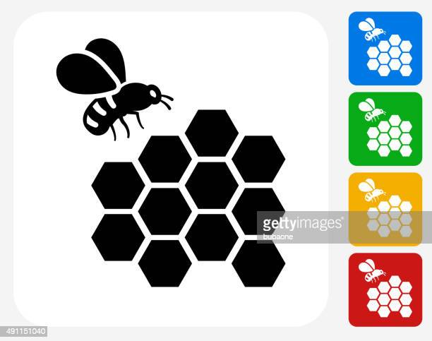 Bee Icon Flat Graphic Design