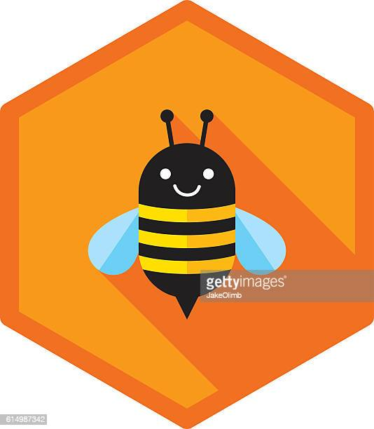 bee icon flat - bumblebee stock illustrations, clip art, cartoons, & icons