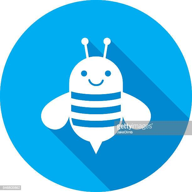 bee icon silhouette - bumblebee stock illustrations, clip art, cartoons, & icons