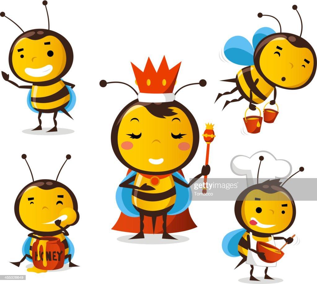 Bee in action set queen eating honey flying crown