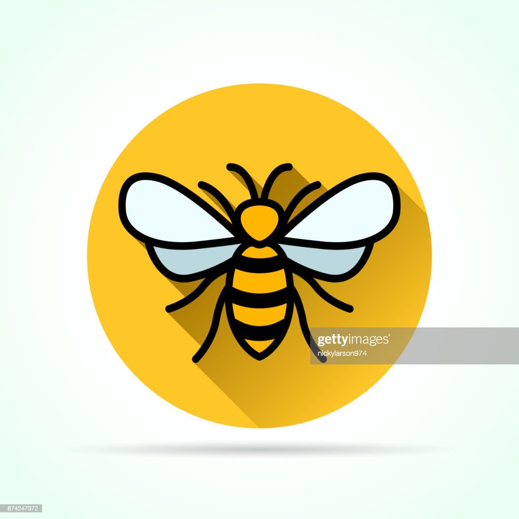 bee in yellow circle icon