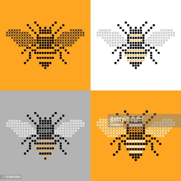 bee insect cross stitch simple set - queen bee stock illustrations
