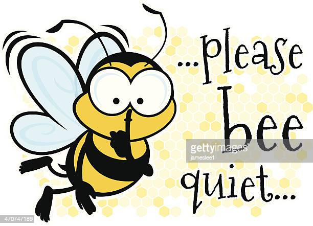 bee quiet - finger on lips stock illustrations