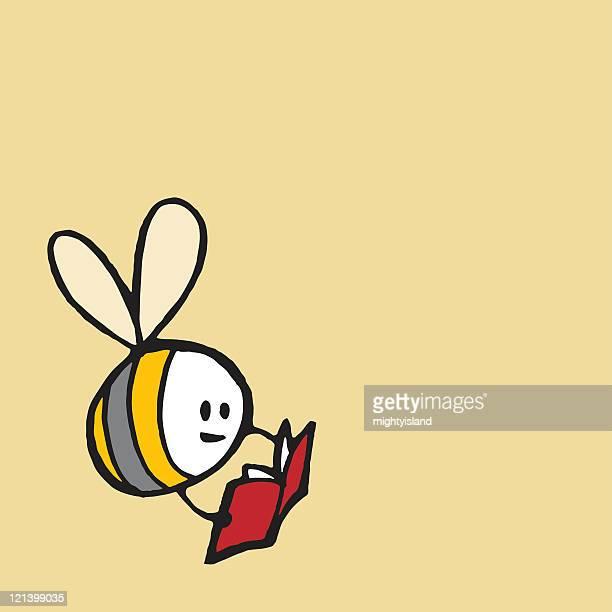 ilustraciones, imágenes clip art, dibujos animados e iconos de stock de bee leer un libro - libros volando