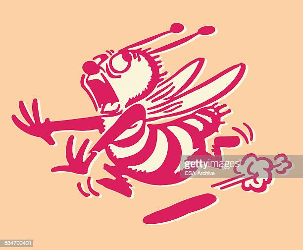 bee running away - wasp stock illustrations, clip art, cartoons, & icons